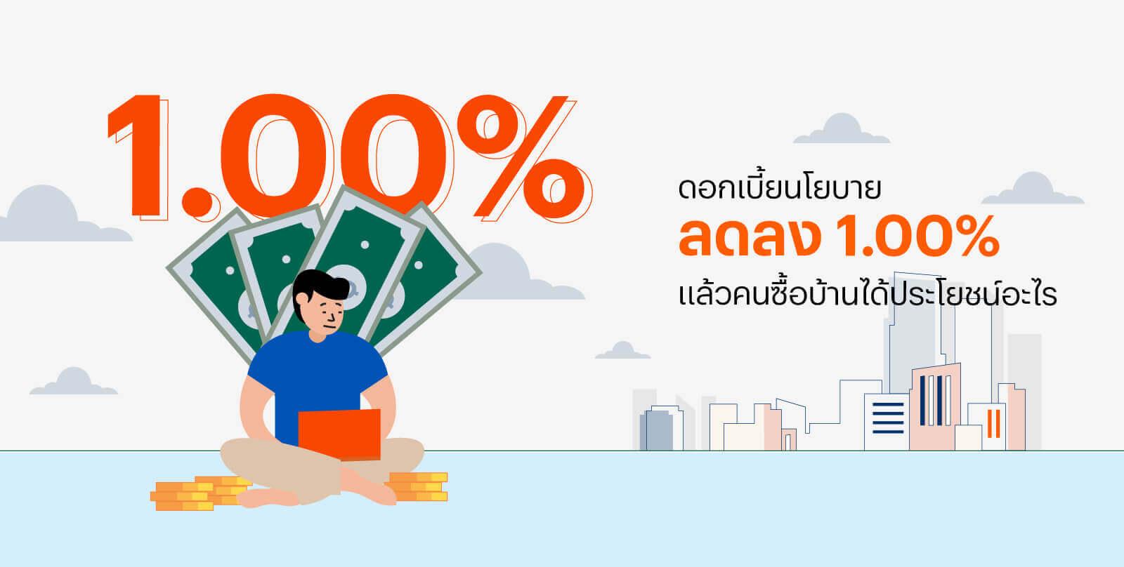 ดอกเบี้ยนโยบายลดลง 1เปอร์เซนต์ แล้วคนซื้อบ้านได้ประโยชน์อะไร